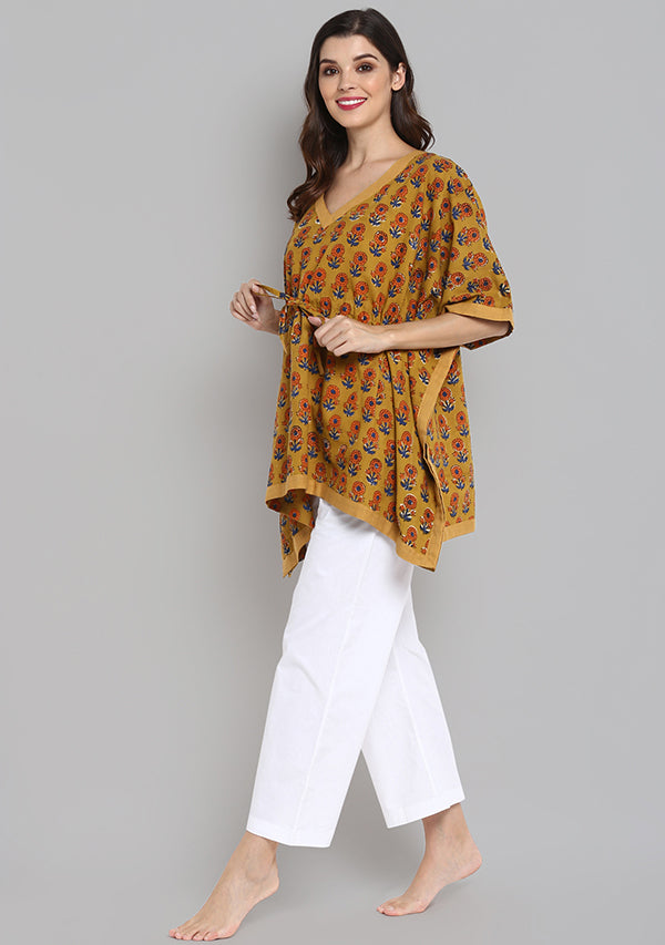 Mustard Orange Hand Block Printed Floral Short Kaftan with White Pyjamas