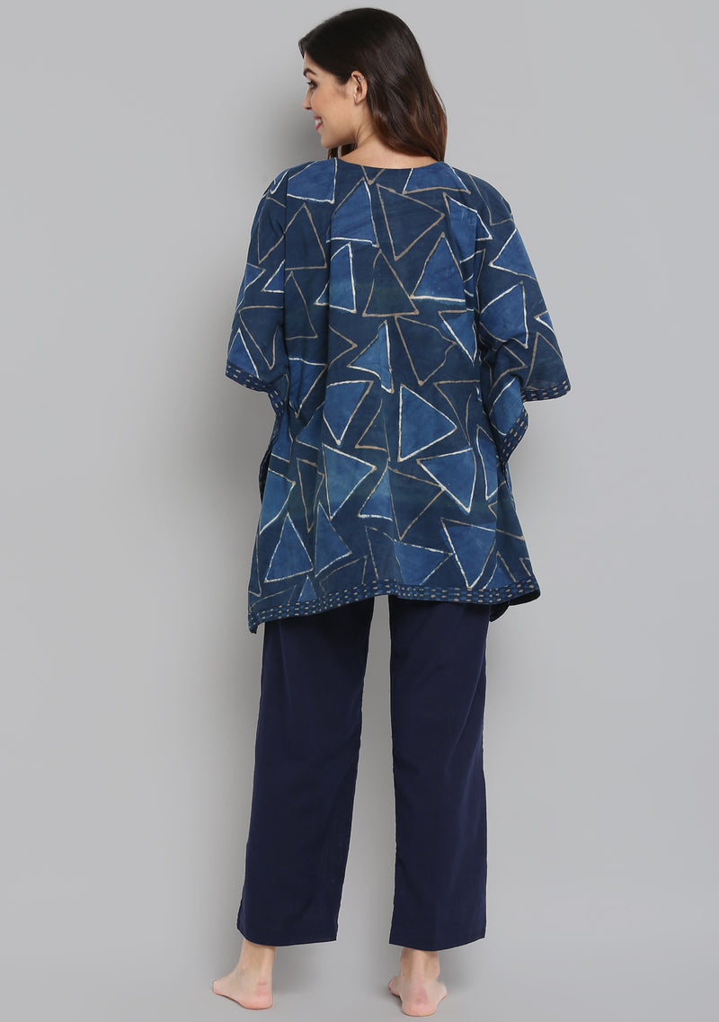 Indigo Ivory Geometric Hand Block Printed Short Kaftan with Navy Blue Pyjamas