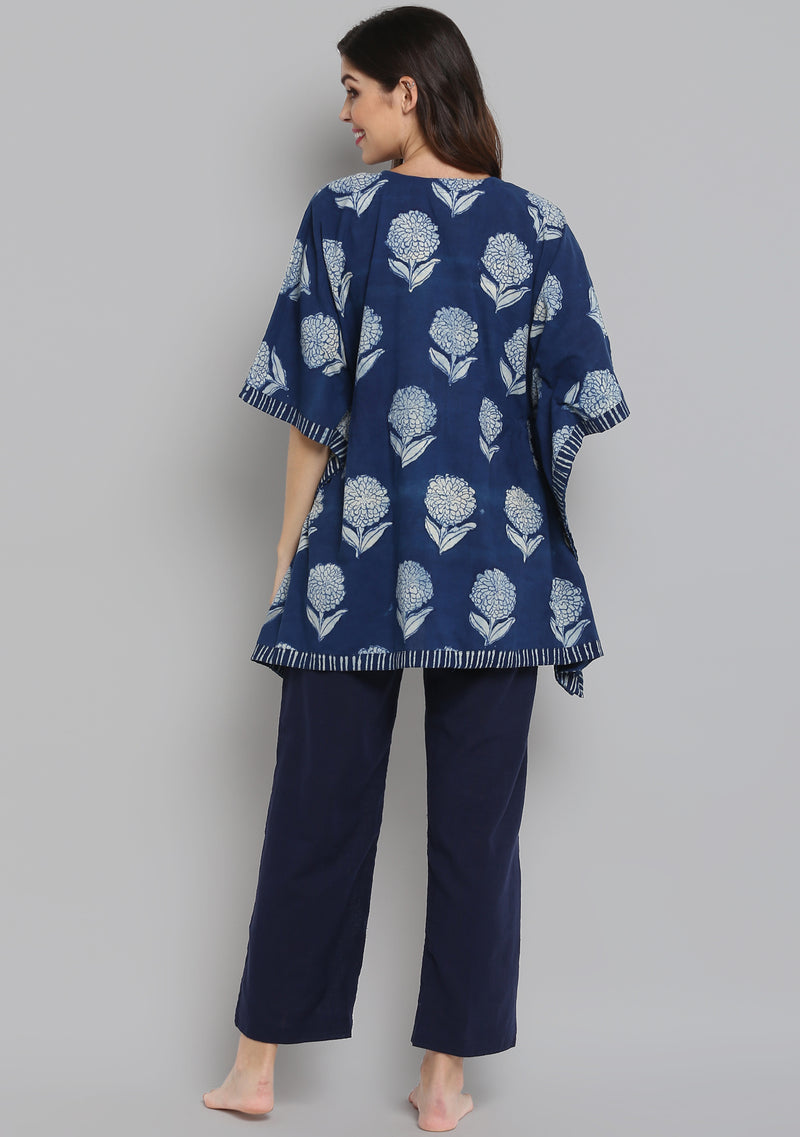 Indigo Ivory Hand Block Printed Flower Motif Short Kaftan with Blue Pyjamas