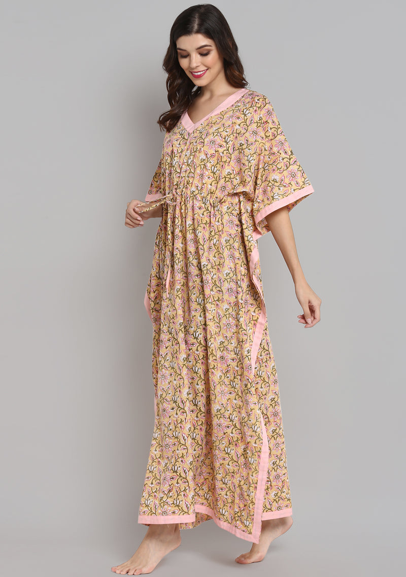 Yellow Pink Hand Block Printed Floral Tie-Up Waist Cotton Kaftan