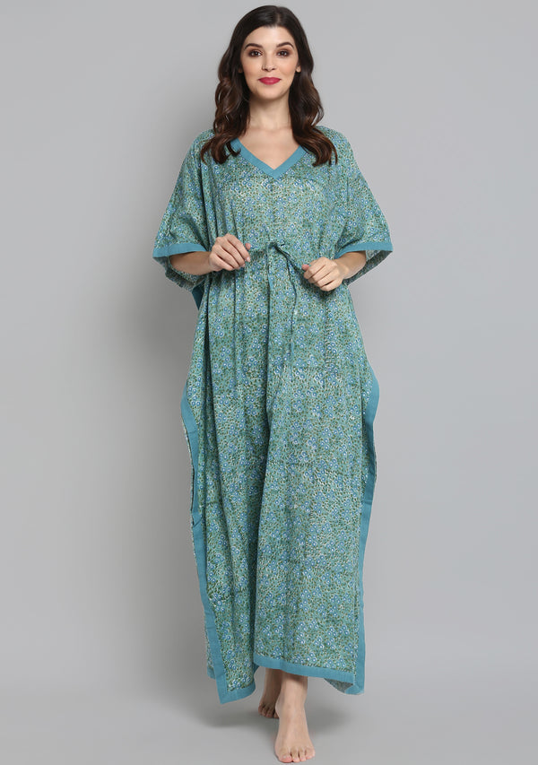 Aqua Green Hand Block Printed Floral Tie-Up Waist Cotton Kaftan