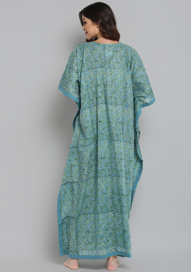 Aqua Green Hand Block Printed Floral V-Neck Cotton Kaftan