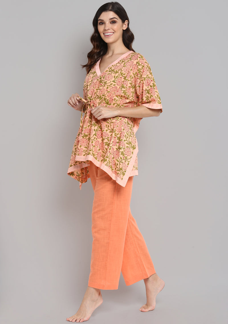 Peach Pink Hand Block Printed Floral Short Kaftan with Peach Pyjamas