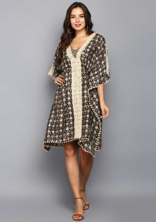 Beige Black Hand Block Printed Mid Length Chaderi Kaftan With Lace Details