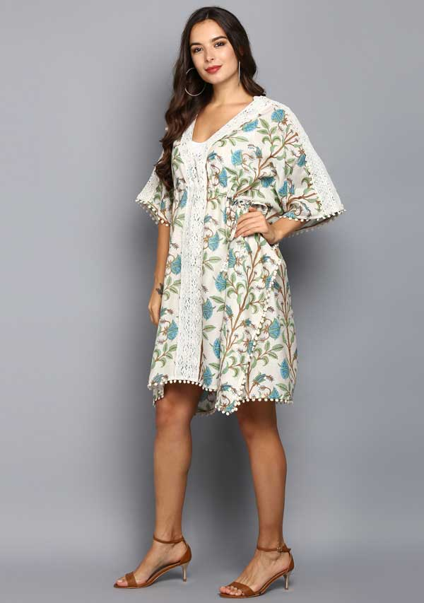 White Green Floral Hand Block Printed Mid Length Cotton Kaftan With Lace Details