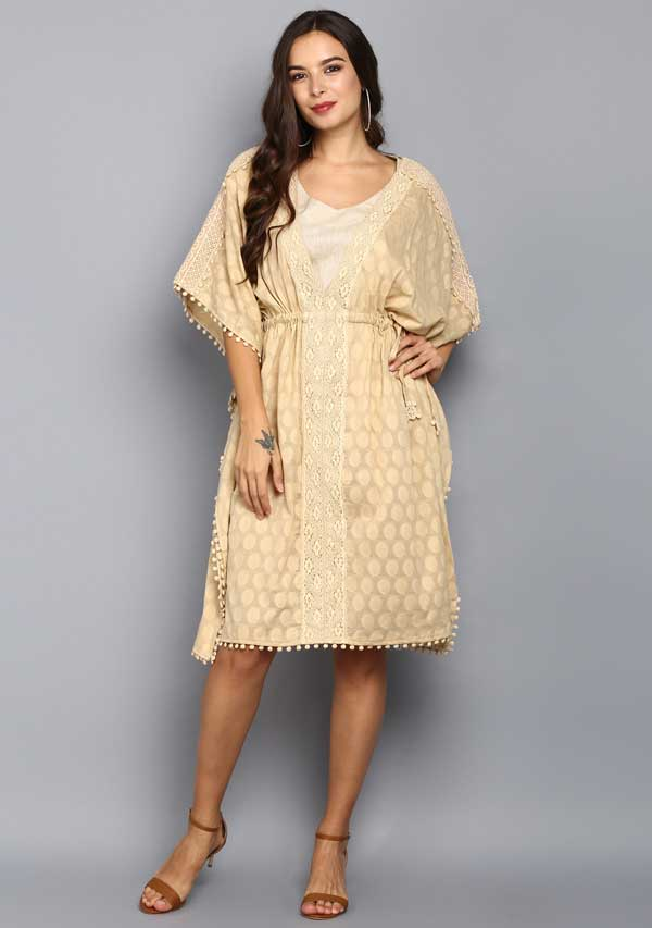 Beige Polka Dot Mid Length Cotton Kaftan With Lace Details
