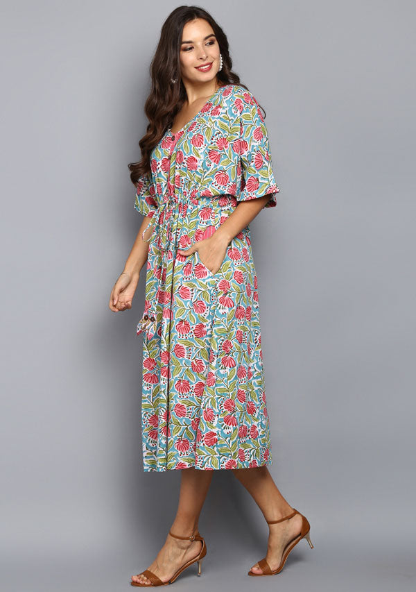 Turq Pink Flower Motif Hand Block Printed Cotton Kaftan Dress