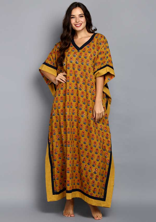 Mustard Blue Flower Motif Hand Block Printed V-Neck Cotton Kaftan