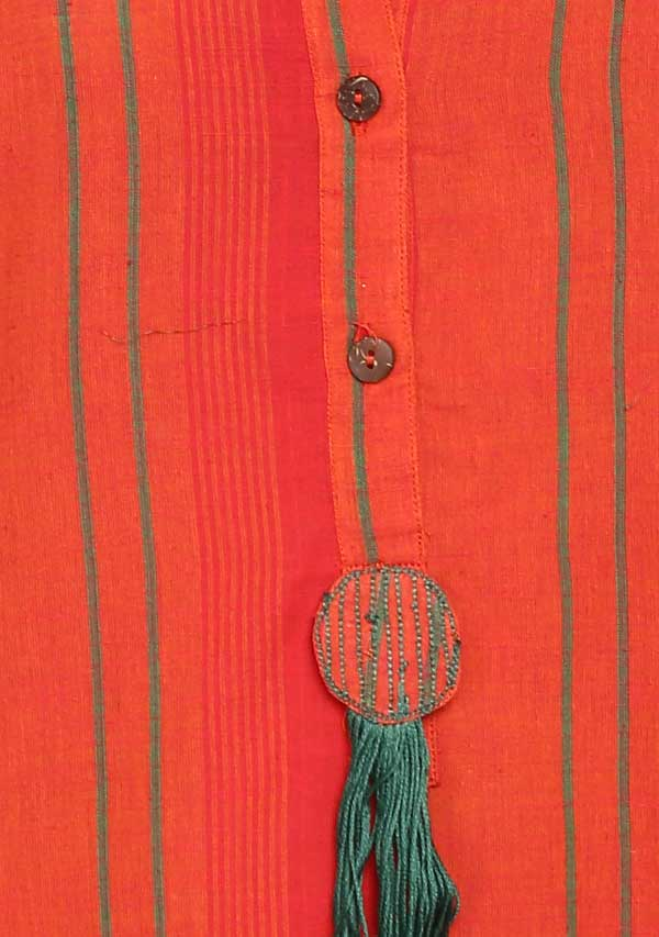 Orange Green Hand Block Printed Mid Length Cotton Kaftan