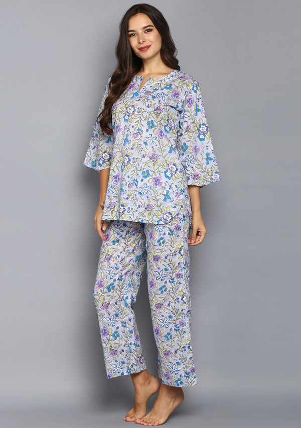 Smoke Blue Purple Hand Block Printed Floral Cotton Night Suit