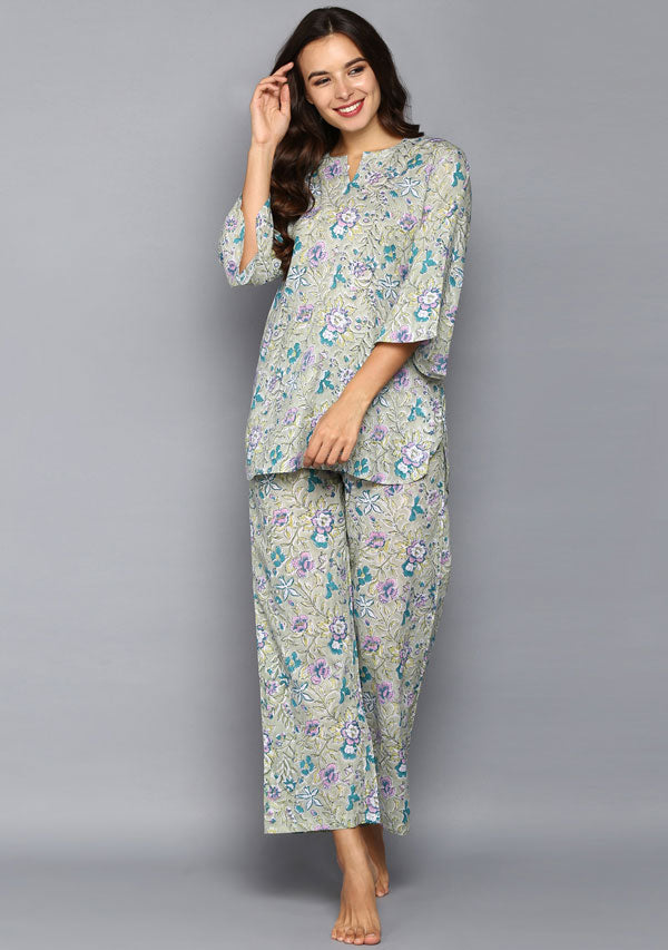 Olive Green Floral Jaal Hand Block Printed Cotton Night Suit