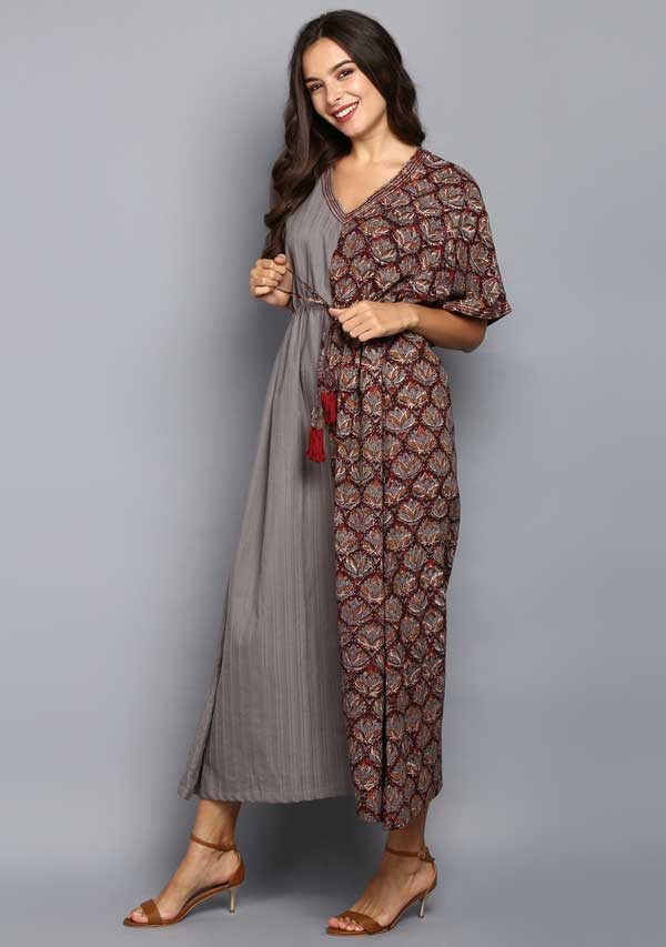 Grey Maroon Half & Half Hand Block Printed Tie-Up Waist Cotton Kaftan