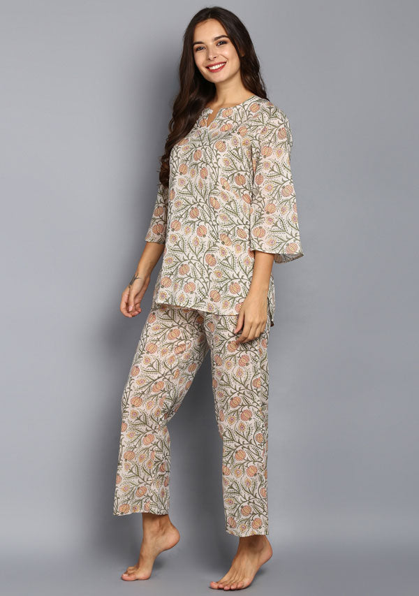 Peach Olive Flower Motif Hand Block Printed Cotton Night Suit