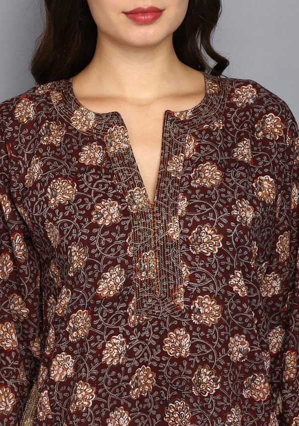 Maroon Grey Floral Jaal Hand Block Printed Nighty Kaftan with Stitch Lines