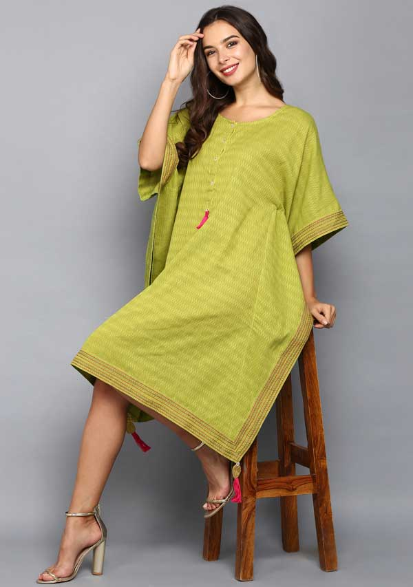 Green Pink Hand Block Printed Mid Length Cotton Kaftan
