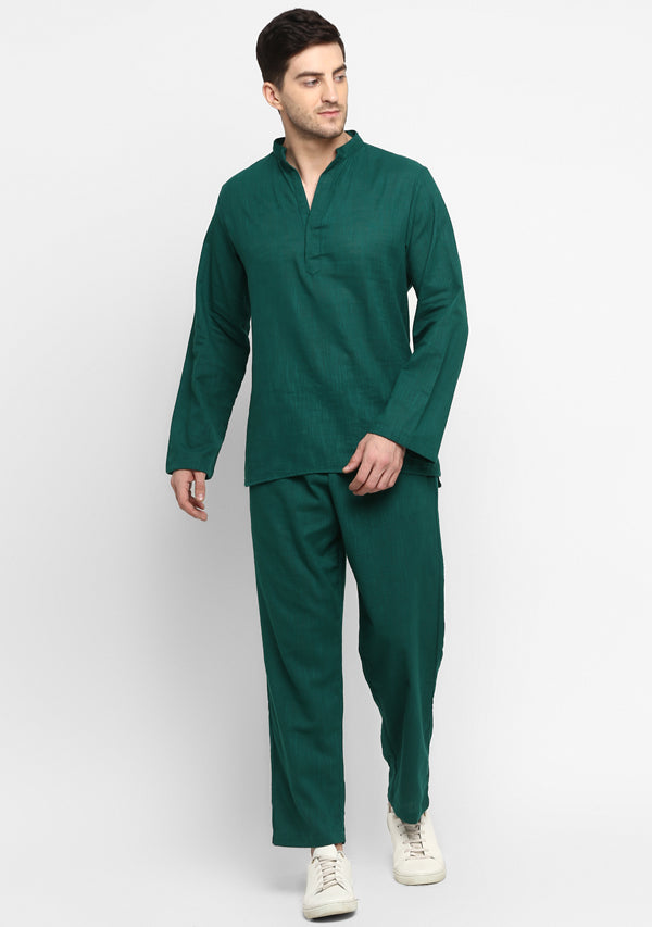 Emerald Green Cotton Shirt and Pyjamas For Men