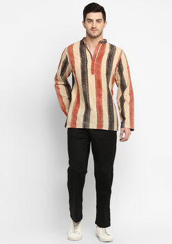 Red Black Hand Block Printed Cotton Shirt and Pyjamas For Men