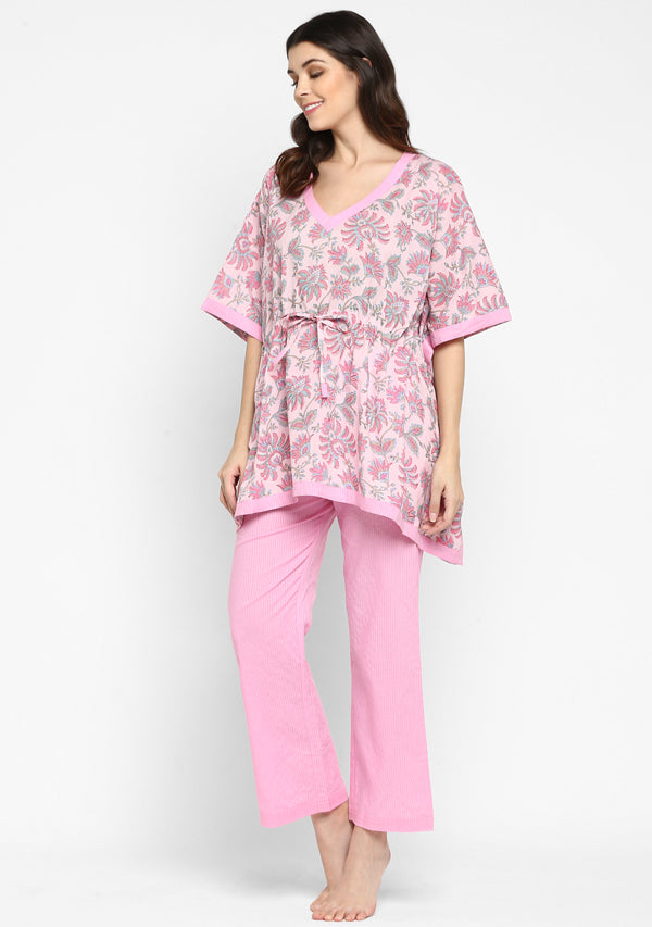 Pink Blue Hand Block Floral Printed Short Kaftan with Pyjamas