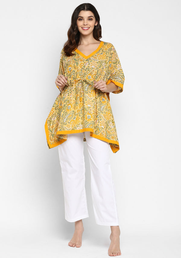 Yellow Green Hand Block Printed Floral Short Kaftan with Pyjamas