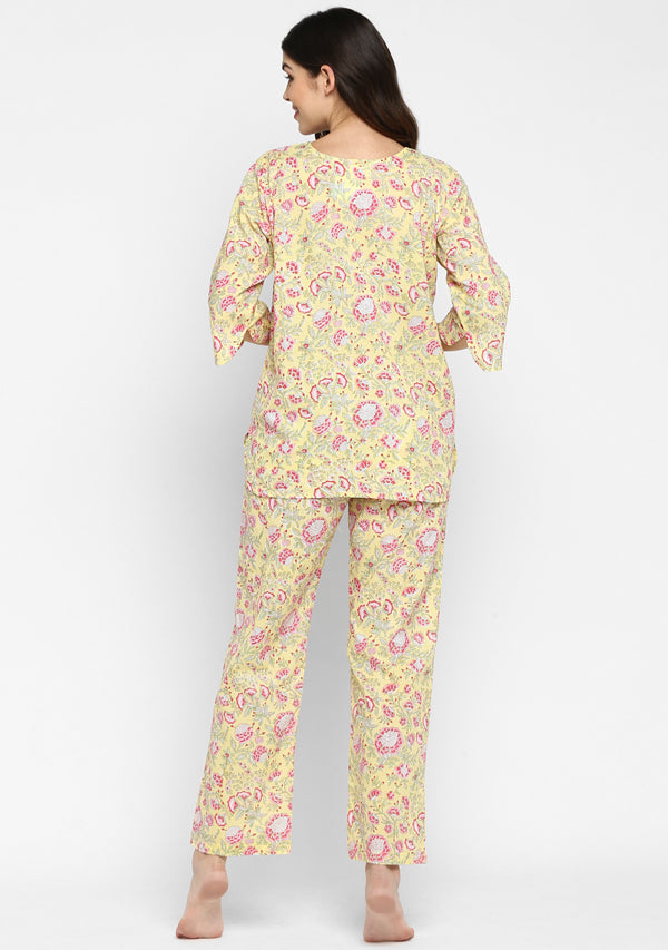 Soft Yellow Pink Hand Block Printed Floral Cotton Night Suit