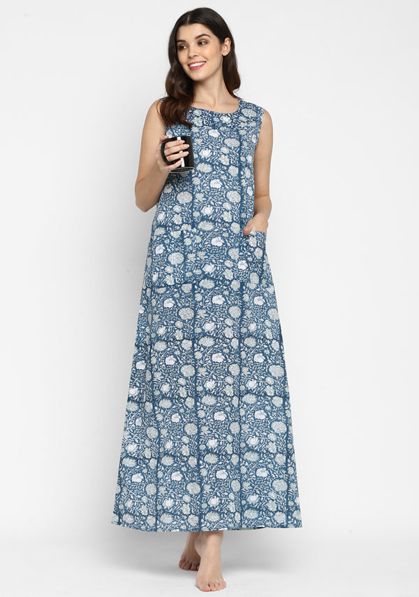 Navy Blue Hand block Printed Floral Sleeveless Long Dress with Pockets