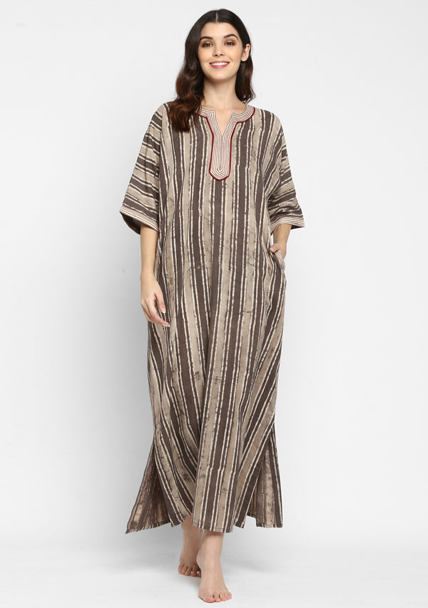 "Couple's Wear - Beige Brown Striped Hand Block Printed Cotton Loungewear for ""HIM & HER"""