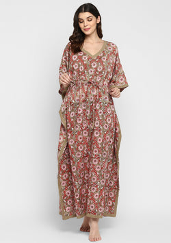 Khaki Red and Pink Hand Block Printed Floral Tie-Up Waist Cotton Kaftan