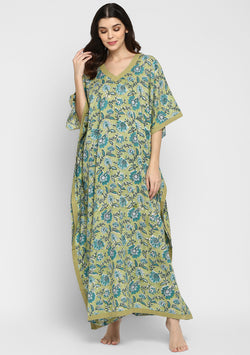 Olive Green Turquoise Hand Block Printed Floral V-Neck Cotton Kaftan