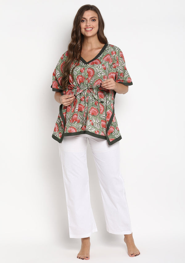 Green Red Hand Block Printed Floral Short Kaftan with White Pyjamas