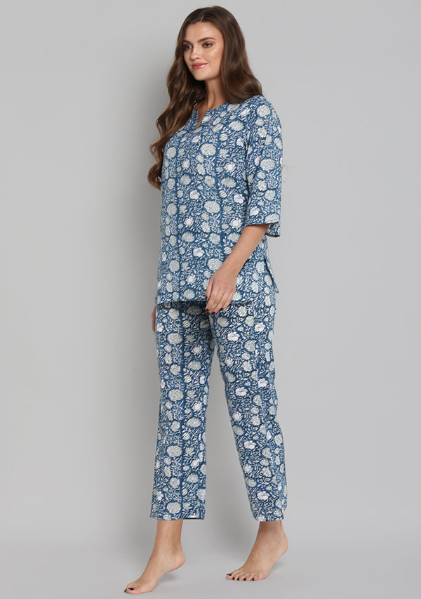 Navy Blue Hand Block Printed Floral Cotton Night Suit