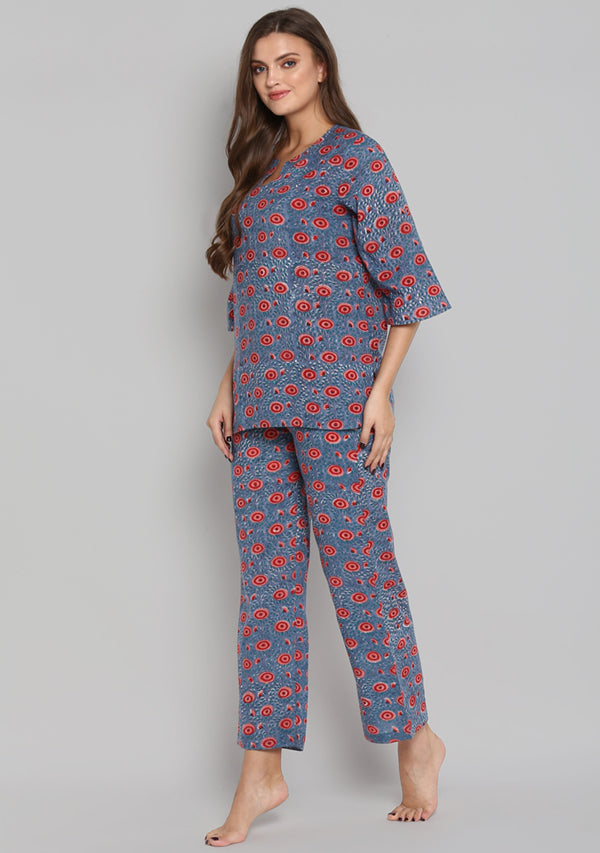 Blue Red Hand Block Printed Floral Cotton Night Suit