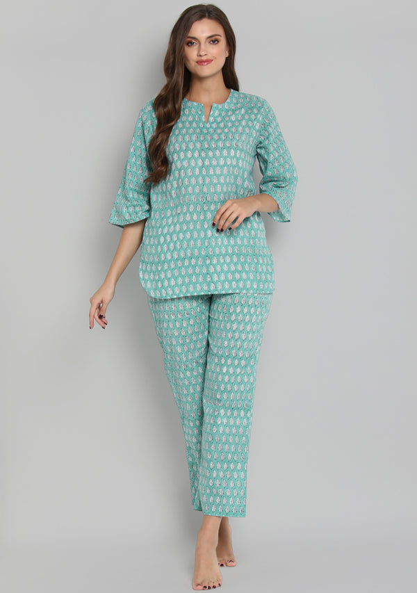 Turquoise White Hand Block Printed Leaf Motif Cotton Night Suit