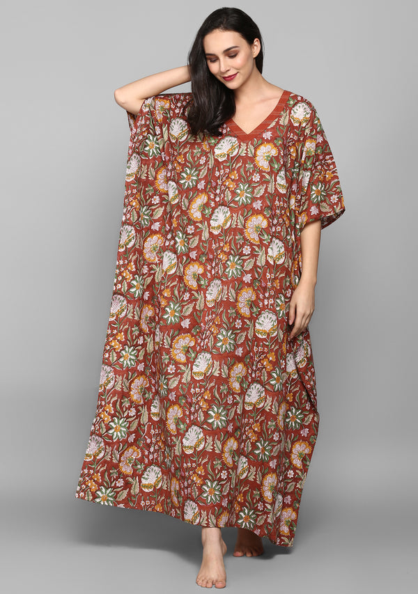 Rust Green Hand Block Printed Floral V-Neck Cotton Kaftan