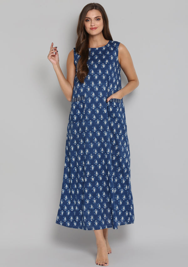 Indigo Ivory Leaf Motif Sleeveless Long Dress with Pockets