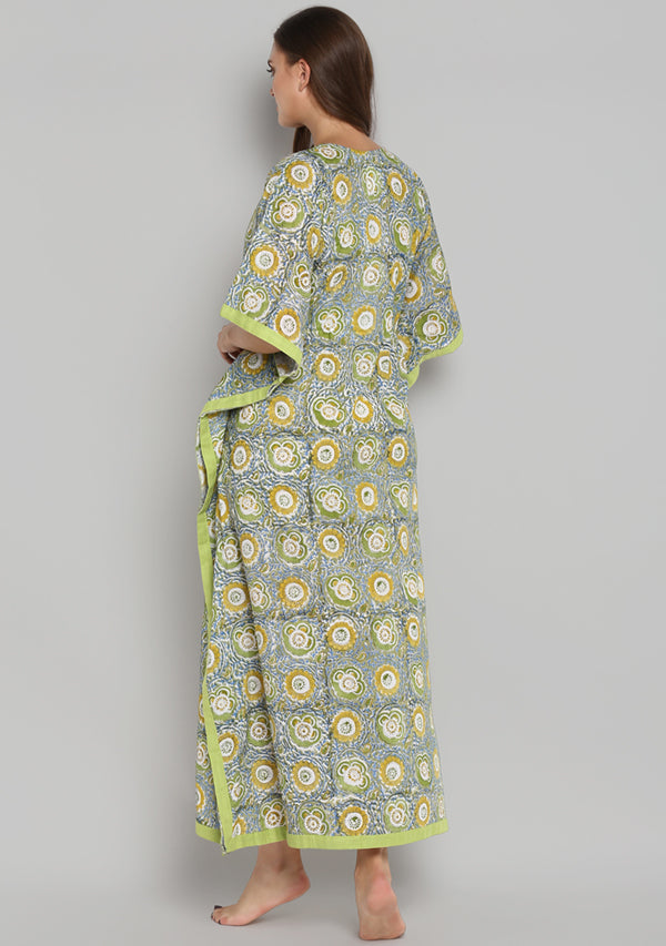 Lime Green Yellow Hand Block Printed Floral Tie-Up Waist Cotton Kaftan