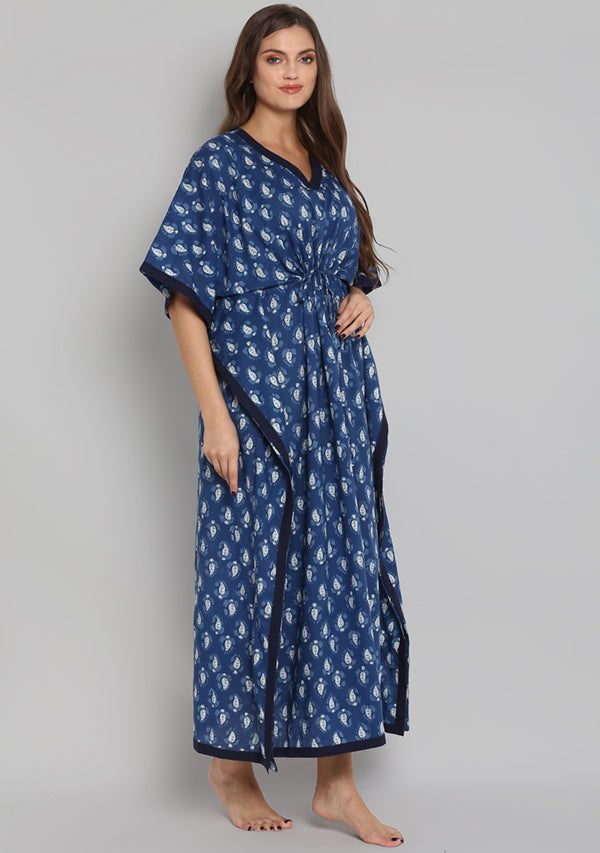 Indigo Ivory Hand Block Printed Leaf Motif Tie-Up Waist Cotton Kaftan