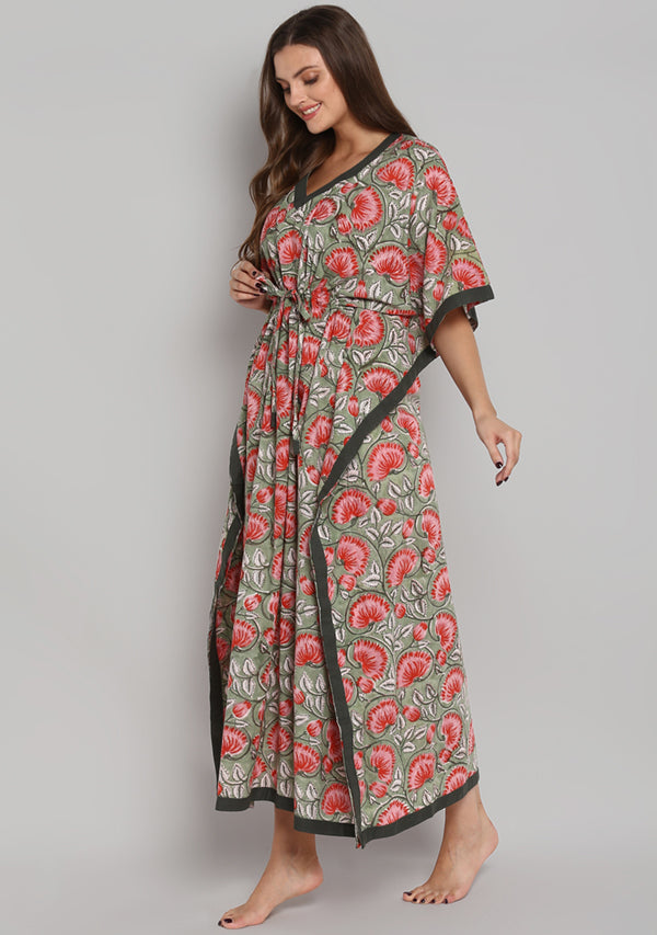 Green Red Hand Block Printed Floral Tie-Up Waist Cotton Kaftan