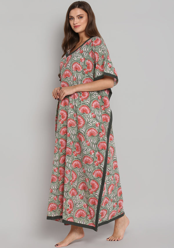 Green Red Hand Block Printed Floral V-Neck Cotton Kaftan