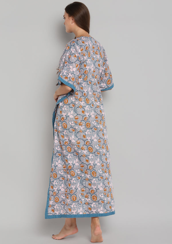 Smoke Blue Mustard Hand Block Printed Floral Tie- Up Waist Cotton Kaftan
