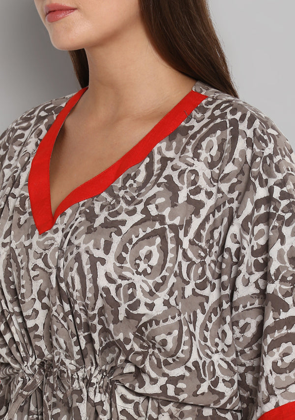 Brown Beige Hand Block Printed Floral Tie-Up Waist Cotton Kaftan With Red Trimming