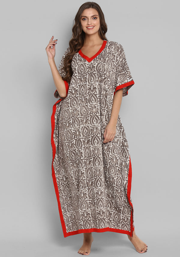 Brown Beige Hand Block Printed Floral V-Neck Cotton Kaftan With Red Trimming