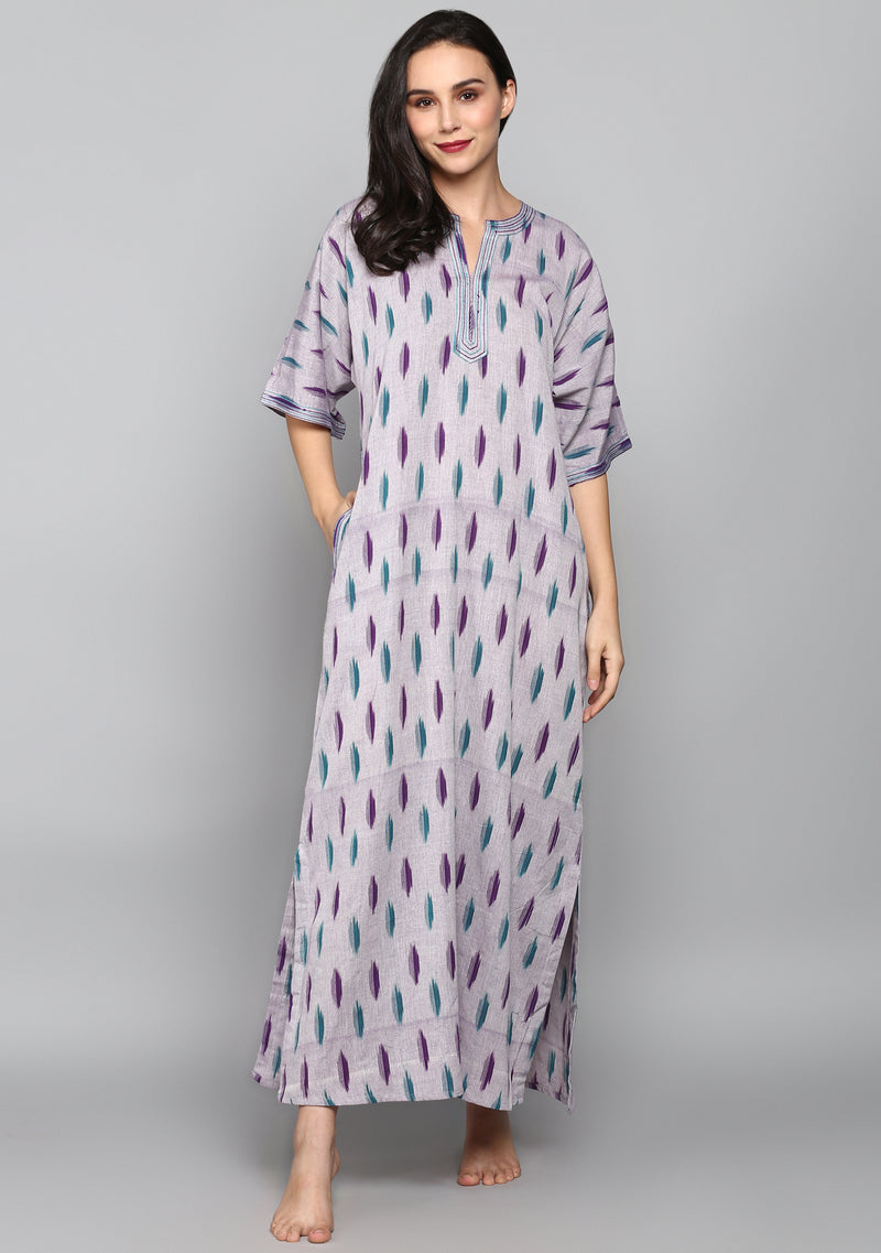 Purple Green Ikat Weave Nighty Kaftan with Stitch Lines