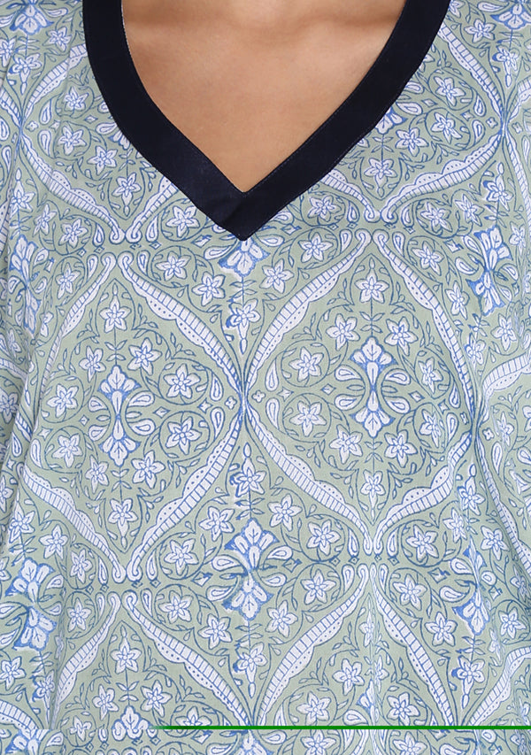 Soft Green Blue Hand Block Mughal Printed Floral V-Neck Cotton Kaftan