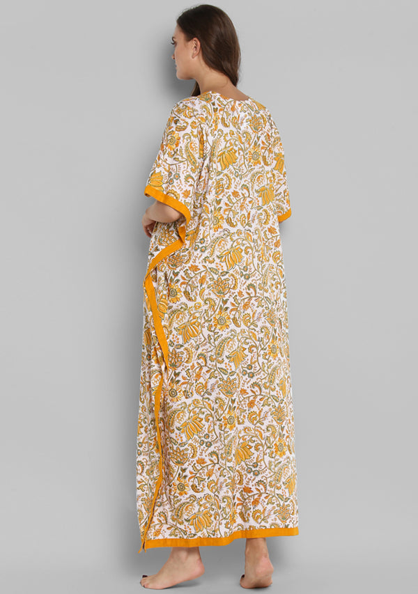White Yellow Hand Block Printed Floral V-Neck Cotton Kaftan