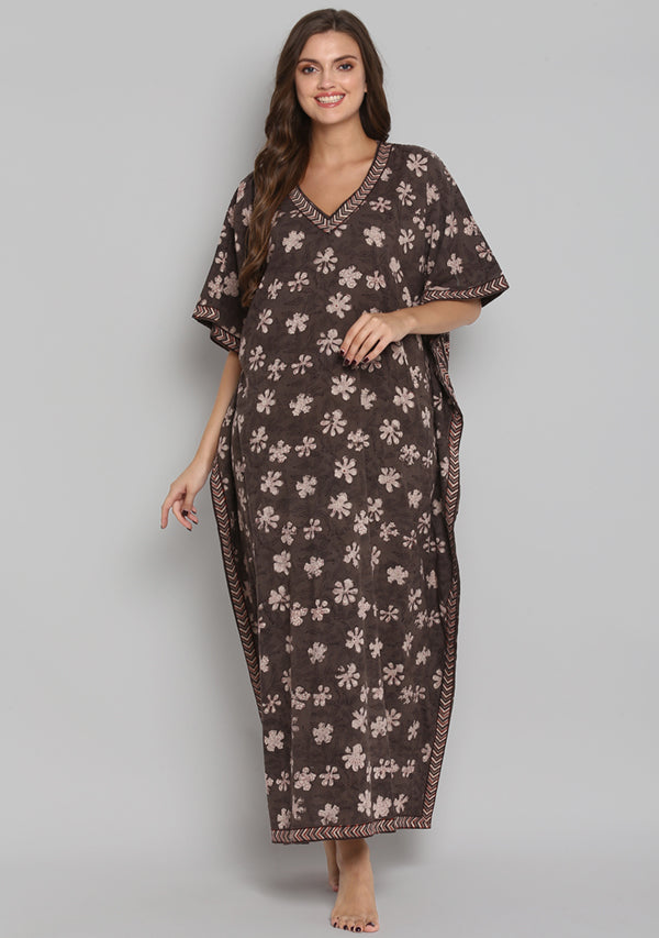 Brown Red Hand Block Printed Floral V-Neck Cotton Kaftan