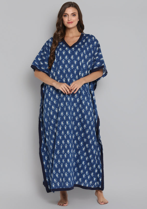 Indigo Ivory Hand Block Printed Leaf Motif V-Neck Cotton Kaftan