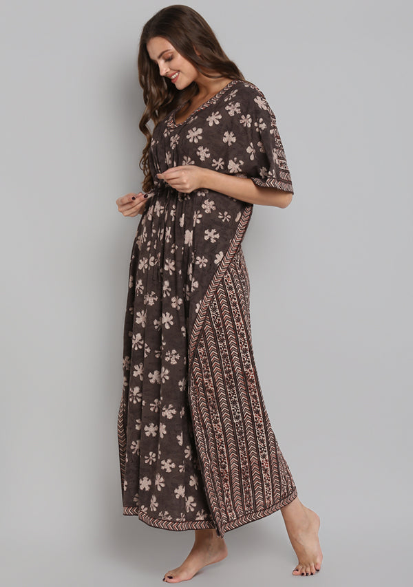Brown Red Hand Block Printed Floral Tie-Up Waist Cotton Kaftan