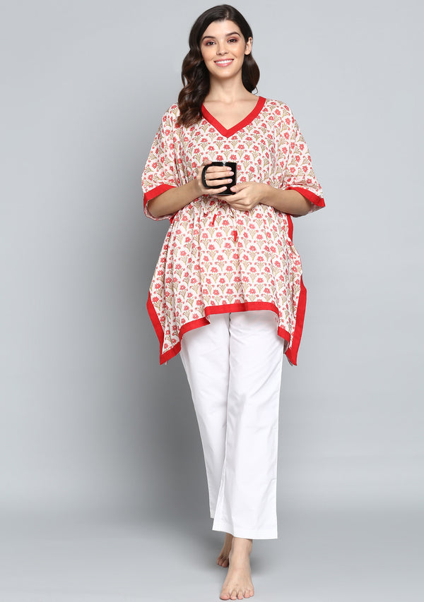 Ivory Red Hand Block Printed Flower Motif Short Kaftan with Pyjamas
