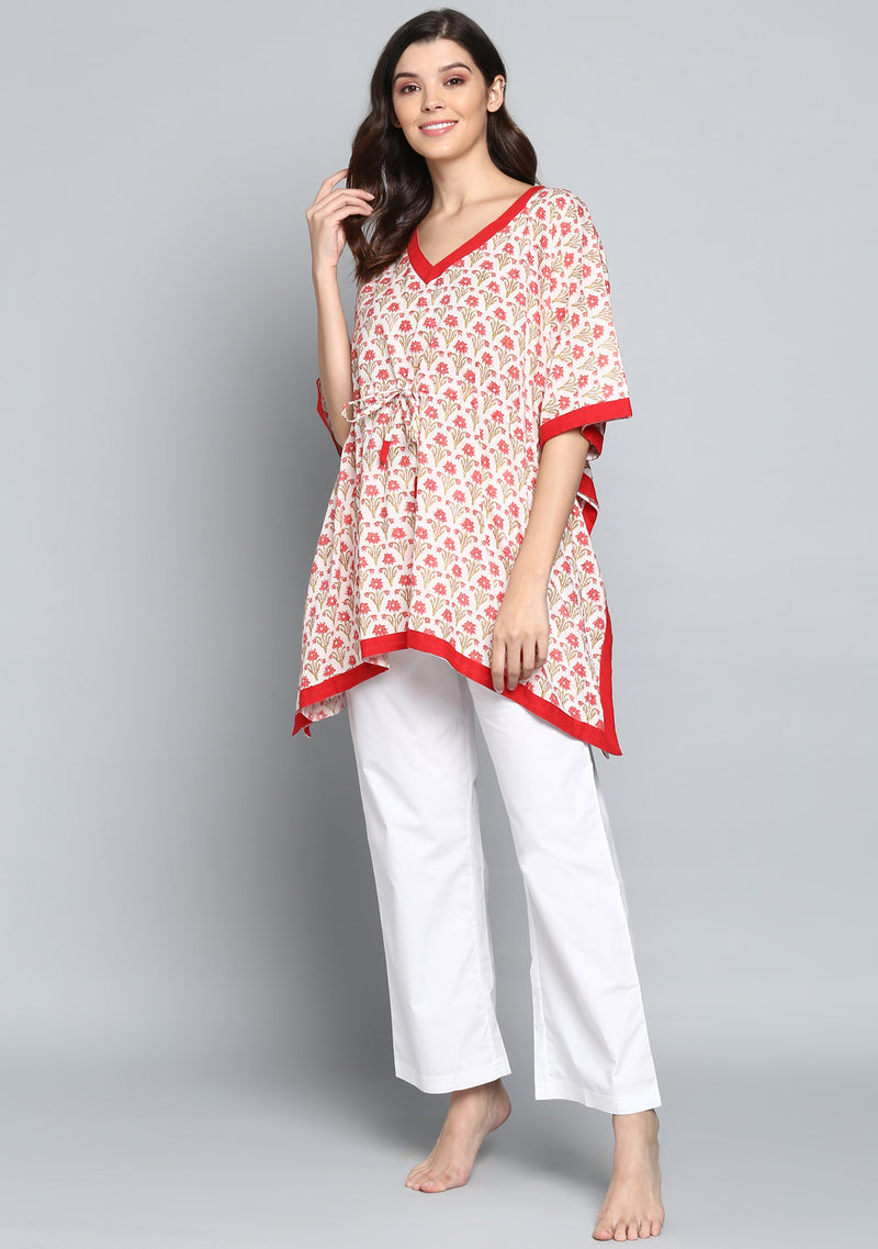 Ivory Red Hand Block Printed Flower Motif Short Kaftan Tunic