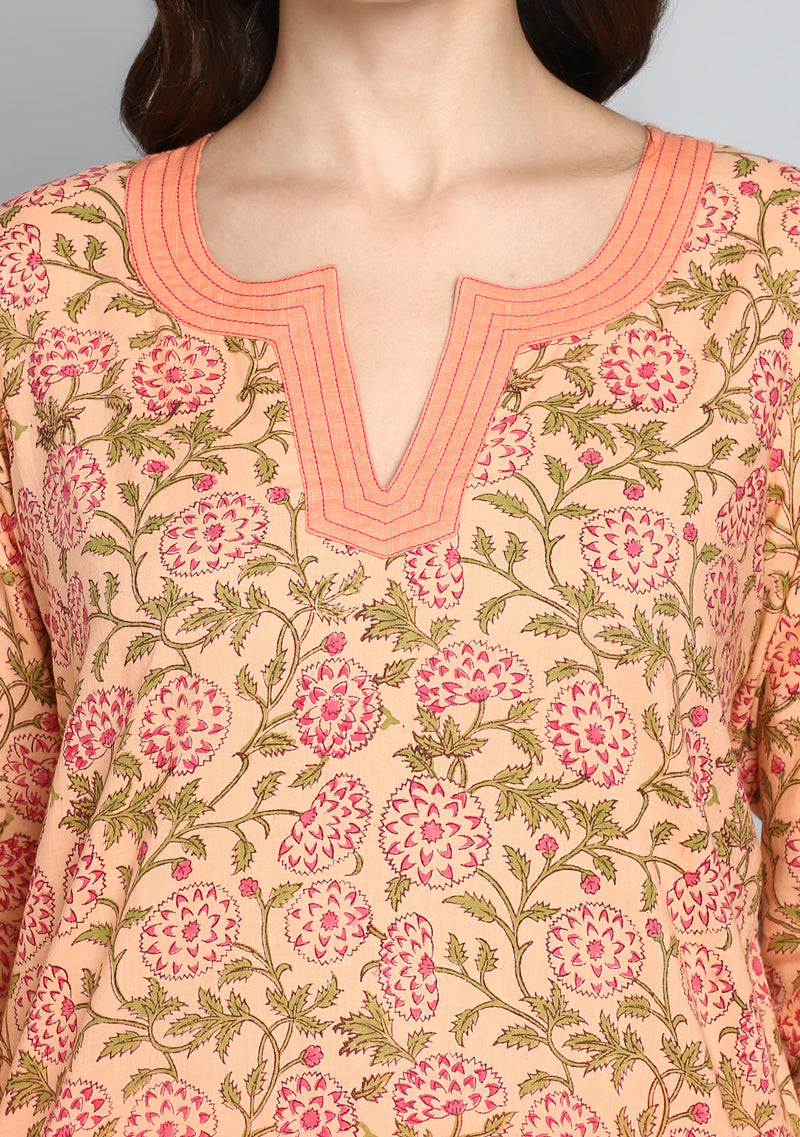 ADAA Peach Green Floral Hand Block Printed Cotton Kurta with Pants